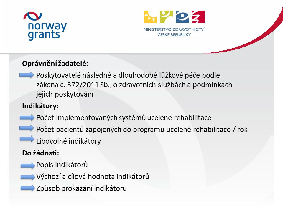 Oprávnění žadatelé: Poskytovatelé následné a dlouhodobé lůžkové péče podle zákona č.