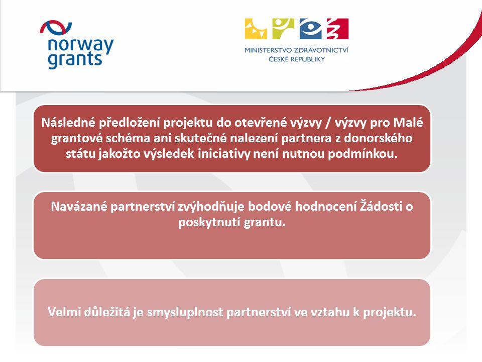 Následné předložení projektu do otevřené výzvy / výzvy pro Malé grantové schéma ani skutečné nalezení partnera z donorského státu jakožto výsledek iniciativy není nutnou podmínkou.