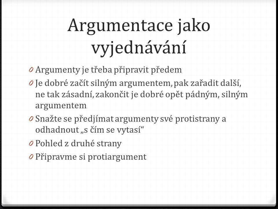 Argumentace jako vyjednávání 0 Argumenty je třeba připravit předem 0 Je dobré začít silným argumentem, pak zařadit další, ne tak zásadní, zakončit je