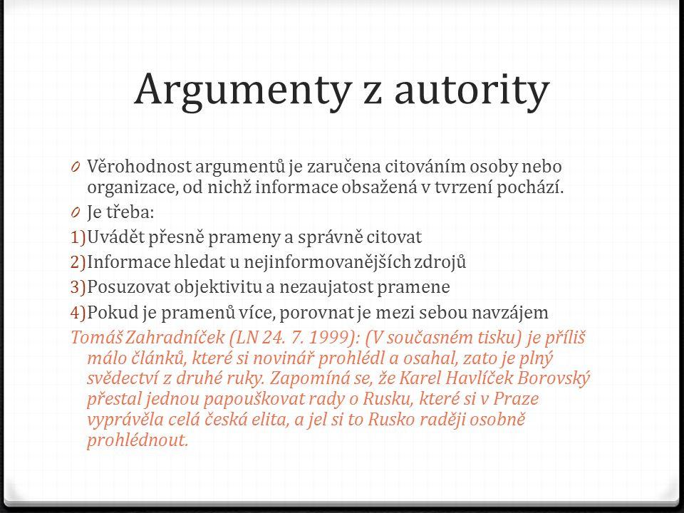 Argumenty z autority 0 Věrohodnost argumentů je zaručena citováním osoby nebo organizace, od nichž informace obsažená v tvrzení pochází. 0 Je třeba: 1