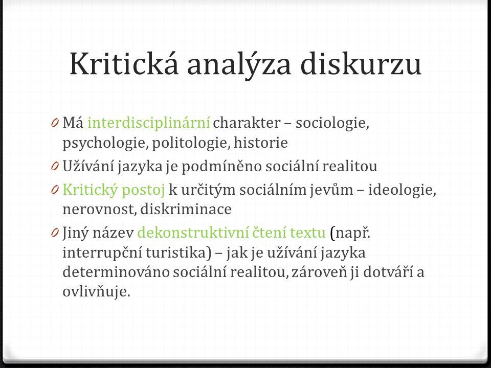 """Cíle kritické analýzy diskurzu 0 Chce zprostředkovat pochopení vzniku a pozadí určitých problémů, zjišťuje, co ke vzniku problému vedlo 0 Pokud se jako příjemce zprávy (textu) dokážu podívat na věc """"zvnějšku , dojdu k úplně novým a překvapivým zjištěním/otázkám 0 Fairclough: Language and Power, Language and social Change 0 Petr Fidelius (Karel Palek): Řeč komunistické moci"""