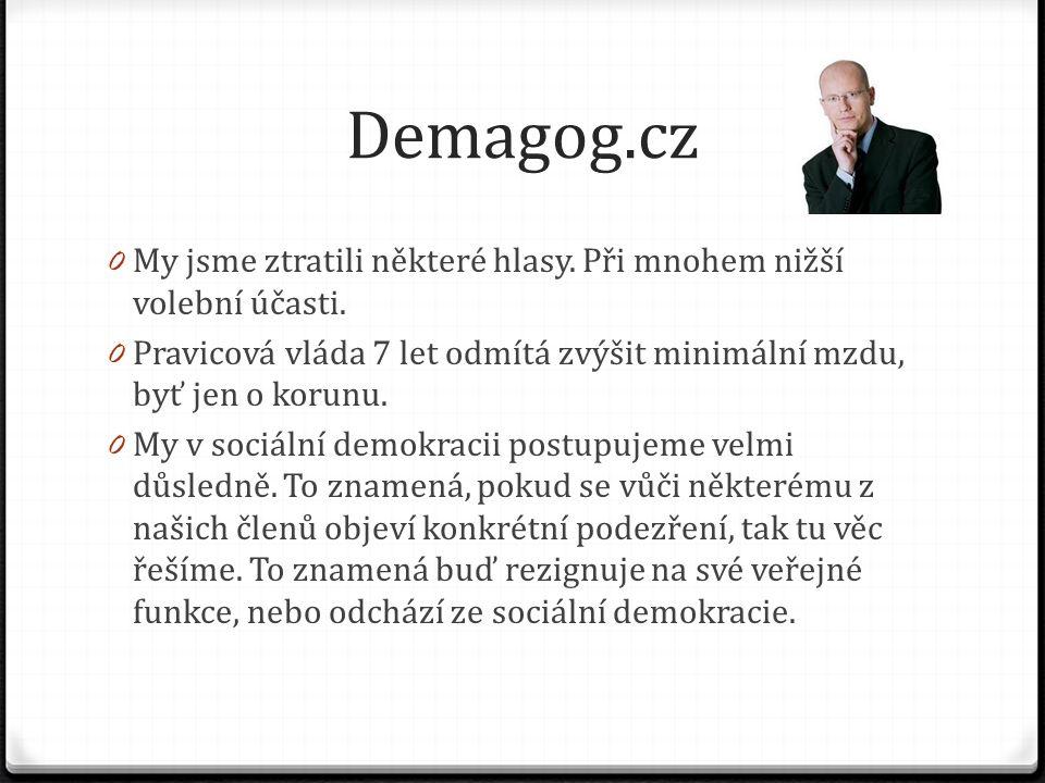 Demagog.cz 0 My jsme ztratili některé hlasy. Při mnohem nižší volební účasti. 0 Pravicová vláda 7 let odmítá zvýšit minimální mzdu, byť jen o korunu.