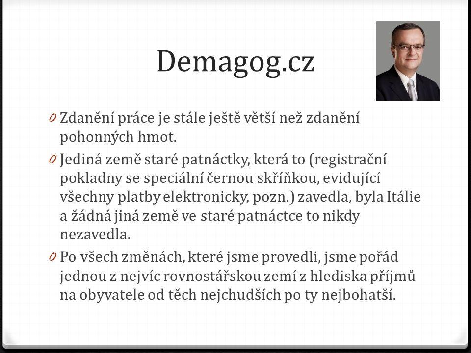 Demagog.cz 0 Zdanění práce je stále ještě větší než zdanění pohonných hmot. 0 Jediná země staré patnáctky, která to (registrační pokladny se speciální