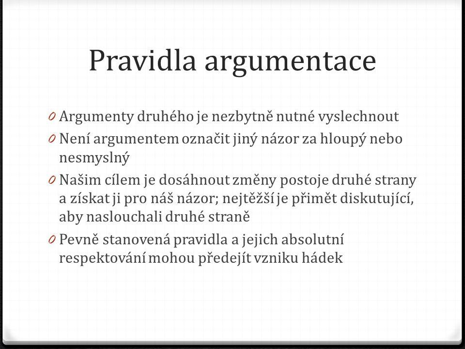 Pravidla argumentace 0 Argumenty druhého je nezbytně nutné vyslechnout 0 Není argumentem označit jiný názor za hloupý nebo nesmyslný 0 Našim cílem je