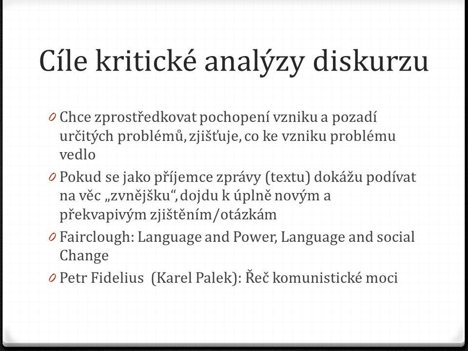 Cíle kritické analýzy diskurzu 0 Chce zprostředkovat pochopení vzniku a pozadí určitých problémů, zjišťuje, co ke vzniku problému vedlo 0 Pokud se jak