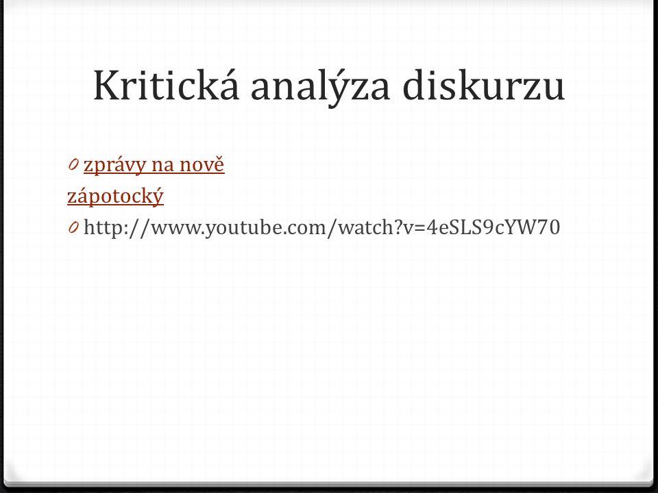 Kritická analýza diskurzu 0 zprávy na nově zprávy na nově zápotocký 0 http://www.youtube.com/watch?v=4eSLS9cYW70