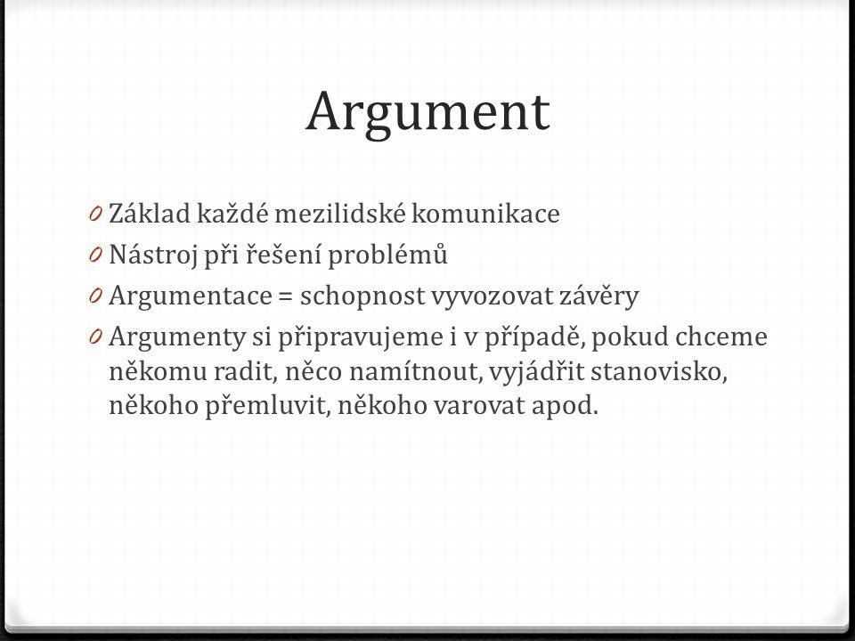 Argument 0 Základ každé mezilidské komunikace 0 Nástroj při řešení problémů 0 Argumentace = schopnost vyvozovat závěry 0 Argumenty si připravujeme i v