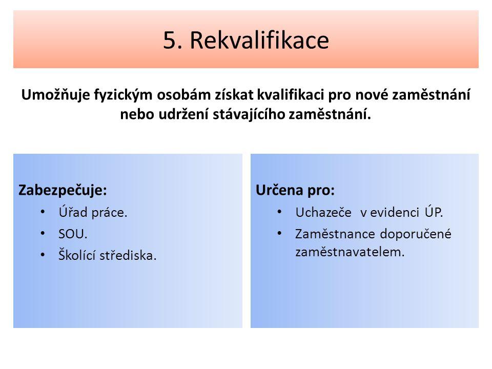 5. Rekvalifikace Umožňuje fyzickým osobám získat kvalifikaci pro nové zaměstnání nebo udržení stávajícího zaměstnání. Zabezpečuje: Úřad práce. SOU. Šk