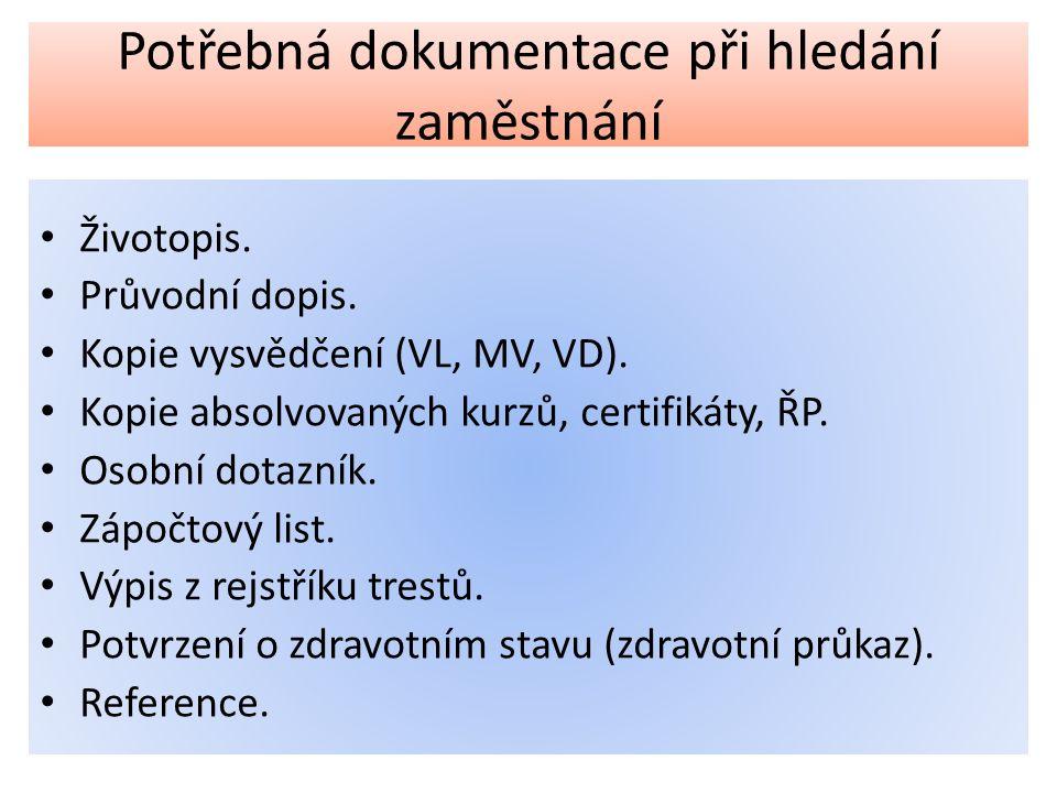 Potřebná dokumentace při hledání zaměstnání Životopis.