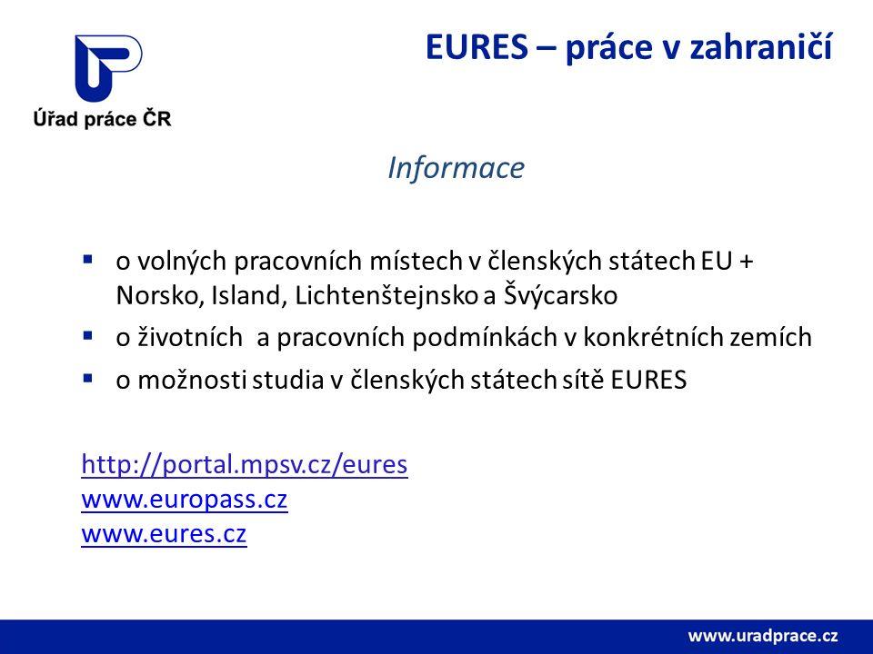 EURES – práce v zahraničí Informace  o volných pracovních místech v členských státech EU + Norsko, Island, Lichtenštejnsko a Švýcarsko  o životních
