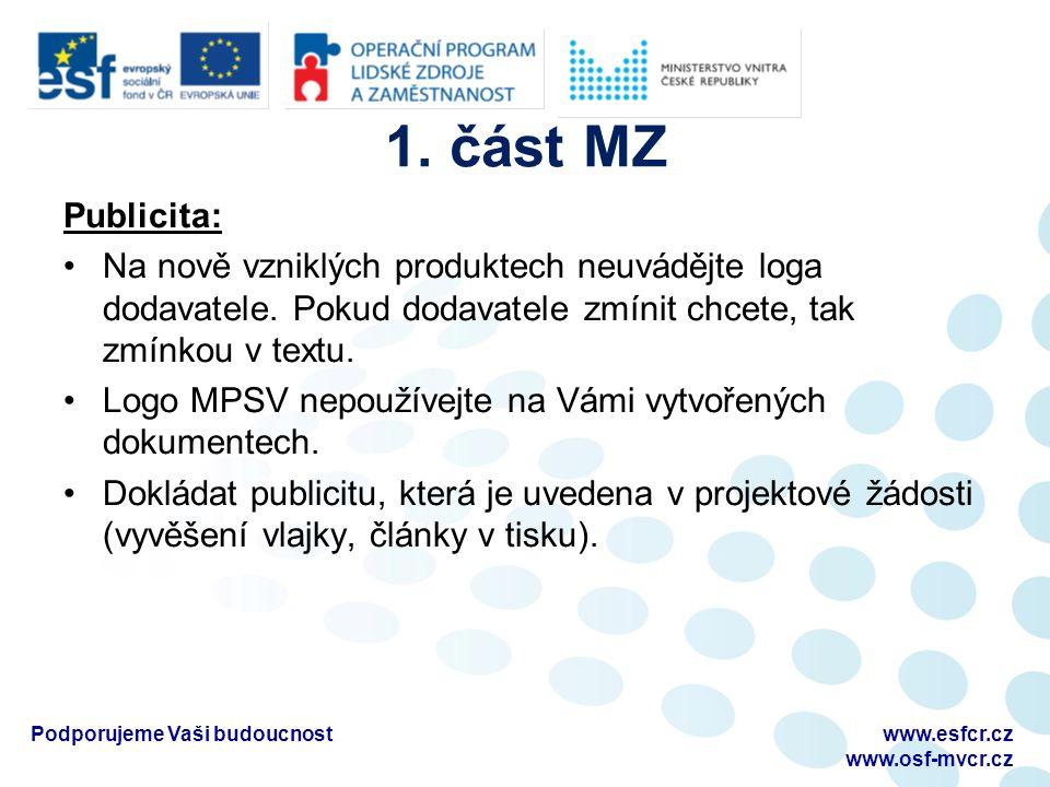 1. část MZ Publicita: Na nově vzniklých produktech neuvádějte loga dodavatele.