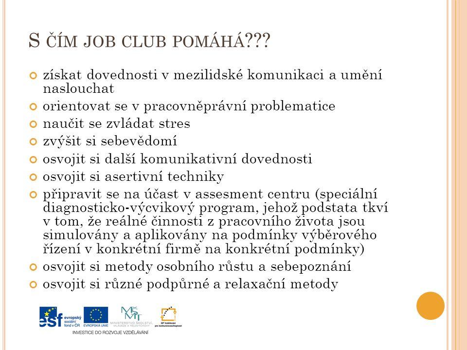 S ČÍM JOB CLUB POMÁHÁ .