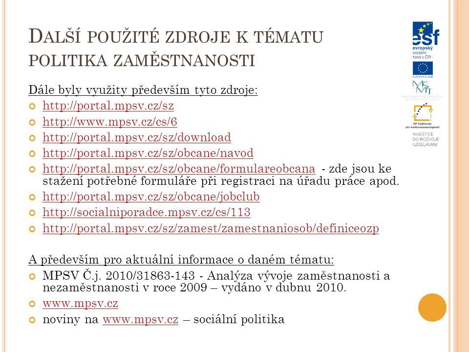 D ALŠÍ POUŽITÉ ZDROJE K TÉMATU POLITIKA ZAMĚSTNANOSTI Dále byly využity především tyto zdroje: http://portal.mpsv.cz/sz http://www.mpsv.cz/cs/6 http://portal.mpsv.cz/sz/download http://portal.mpsv.cz/sz/obcane/navod http://portal.mpsv.cz/sz/obcane/formulareobcanahttp://portal.mpsv.cz/sz/obcane/formulareobcana - zde jsou ke stažení potřebné formuláře při registraci na úřadu práce apod.