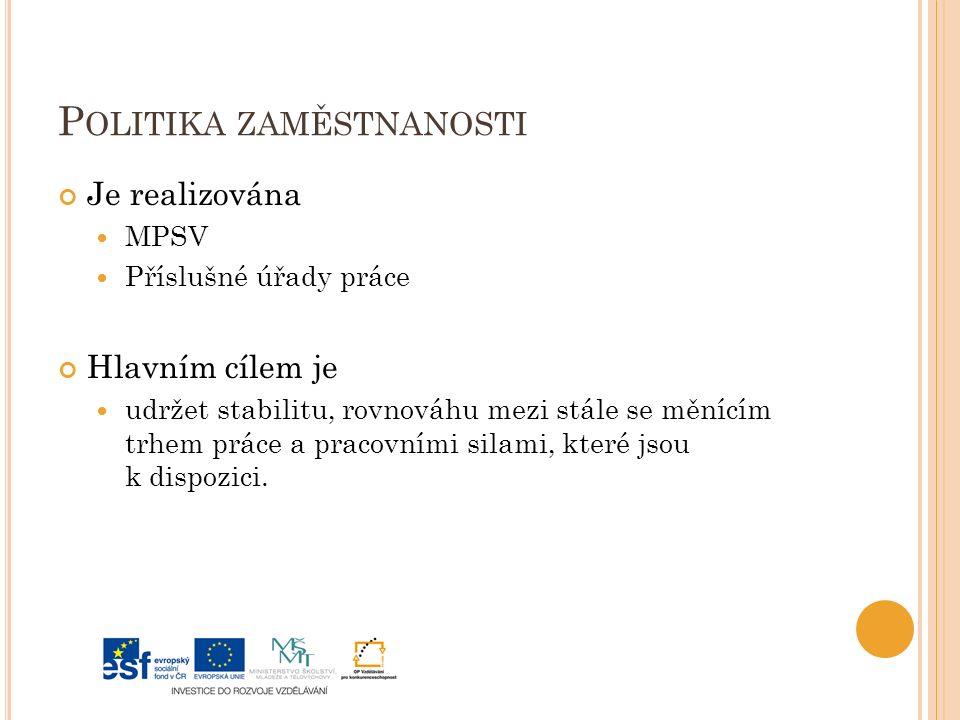 P OLITIKA ZAMĚSTNANOSTI Je realizována MPSV Příslušné úřady práce Hlavním cílem je udržet stabilitu, rovnováhu mezi stále se měnícím trhem práce a pracovními silami, které jsou k dispozici.