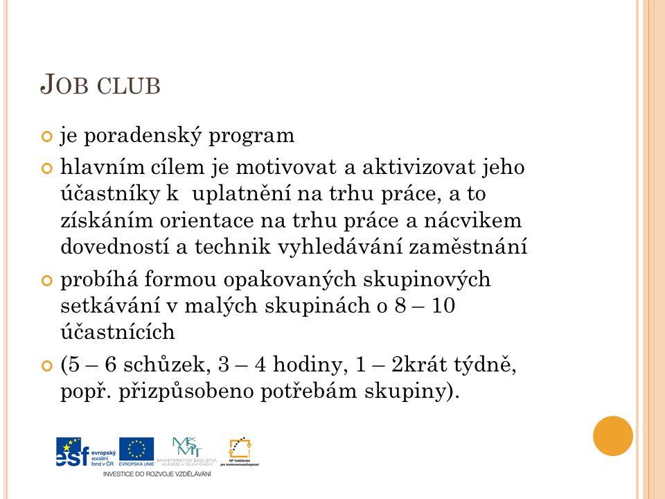 J OB CLUB je poradenský program hlavním cílem je motivovat a aktivizovat jeho účastníky k uplatnění na trhu práce, a to získáním orientace na trhu práce a nácvikem dovedností a technik vyhledávání zaměstnání probíhá formou opakovaných skupinových setkávání v malých skupinách o 8 – 10 účastnících (5 – 6 schůzek, 3 – 4 hodiny, 1 – 2krát týdně, popř.