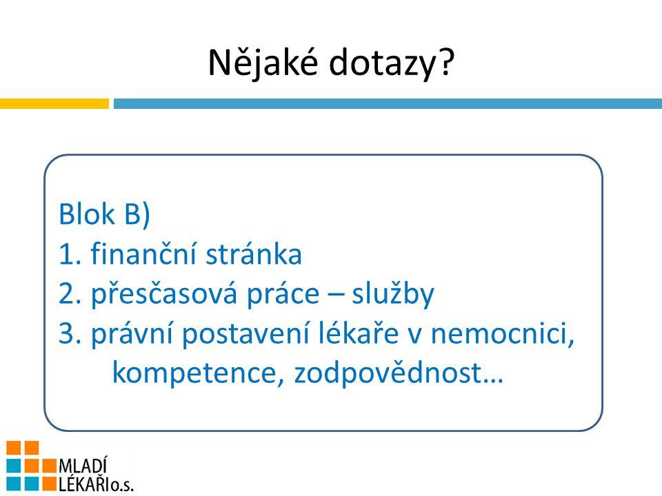 Nějaké dotazy. Blok B) 1. finanční stránka 2. přesčasová práce – služby 3.