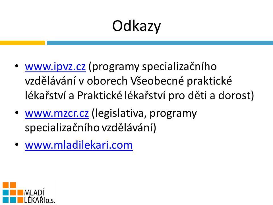 Odkazy www.ipvz.cz (programy specializačního vzdělávání v oborech Všeobecné praktické lékařství a Praktické lékařství pro děti a dorost) www.ipvz.cz www.mzcr.cz (legislativa, programy specializačního vzdělávání) www.mzcr.cz www.mladilekari.com