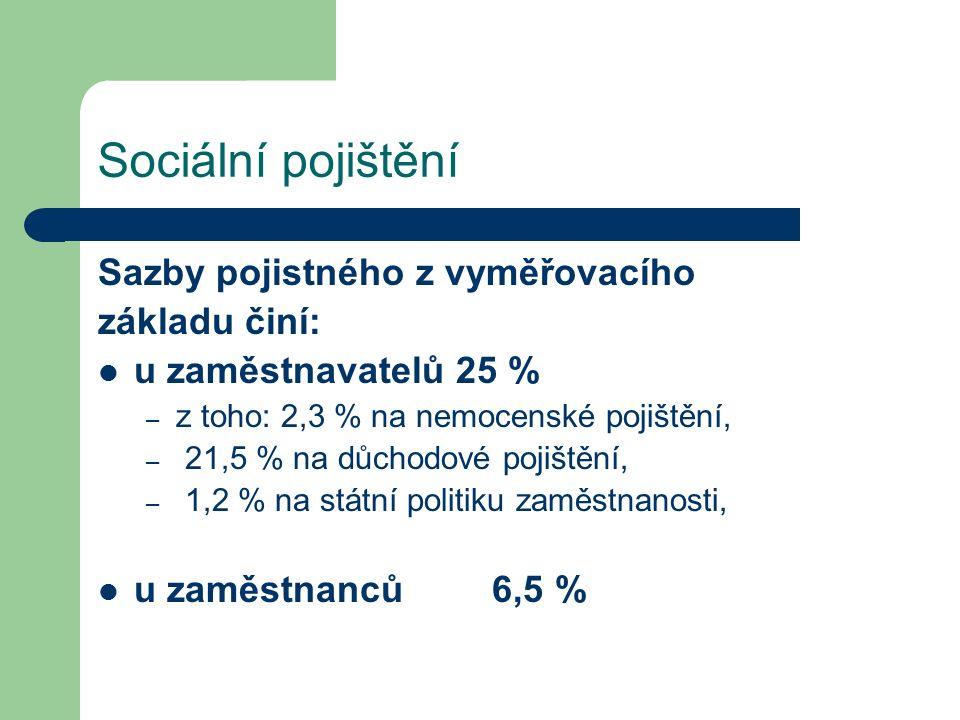 Sociální pojištění Sazby pojistného z vyměřovacího základu činí: u zaměstnavatelů 25 % – z toho: 2,3 % na nemocenské pojištění, – 21,5 % na důchodové pojištění, – 1,2 % na státní politiku zaměstnanosti, u zaměstnanců 6,5 %
