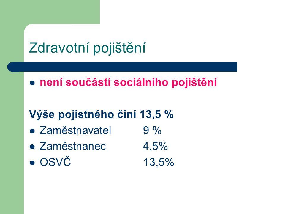 Zdravotní pojištění není součástí sociálního pojištění Výše pojistného činí 13,5 % Zaměstnavatel9 % Zaměstnanec 4,5% OSVČ13,5%