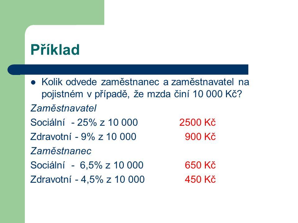 Příklad Kolik odvede zaměstnanec a zaměstnavatel na pojistném v případě, že mzda činí 10 000 Kč? Zaměstnavatel Sociální - 25% z 10 0002500 Kč Zdravotn