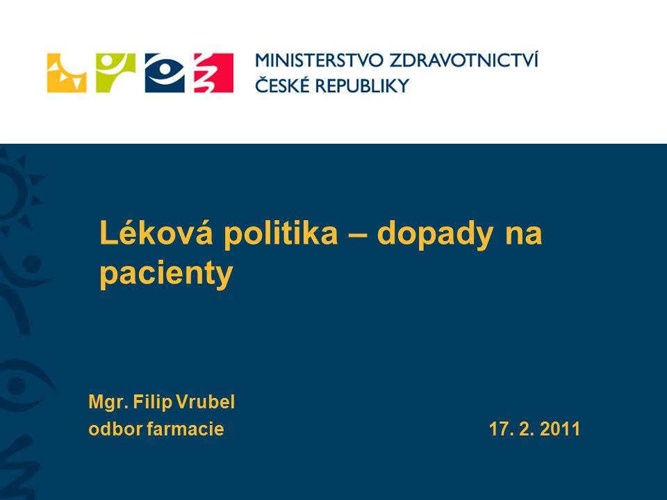 Léková politika – dopady na pacienty Mgr. Filip Vrubel odbor farmacie17. 2. 2011