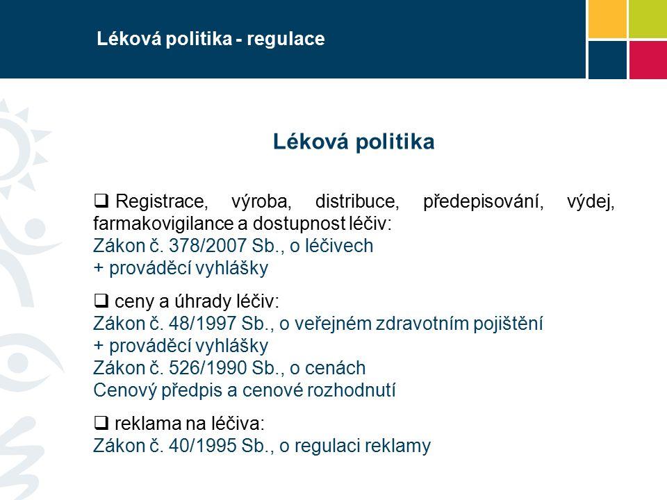 Léková politika - regulace Léková politika  Registrace, výroba, distribuce, předepisování, výdej, farmakovigilance a dostupnost léčiv: Zákon č.
