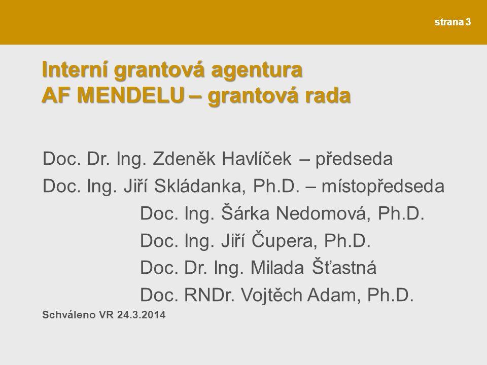 strana 4 Interní grantová agentura AF MENDELU – tématické okruhy Tématické okruhy: 1.