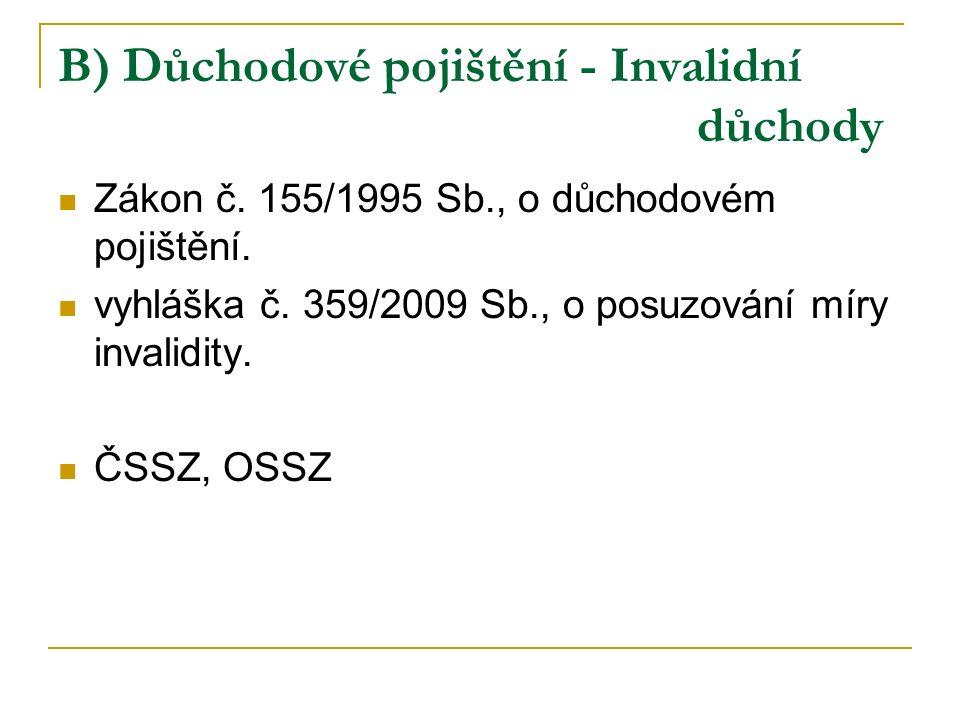 B) Důchodové pojištění - Invalidní důchody Zákon č. 155/1995 Sb., o důchodovém pojištění. vyhláška č. 359/2009 Sb., o posuzování míry invalidity. ČSSZ