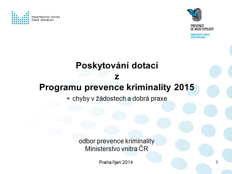 Praha říjen 20141 Poskytování dotací z Programu prevence kriminality 2015 + chyby v žádostech a dobrá praxe odbor prevence kriminality Ministerstvo vnitra ČR