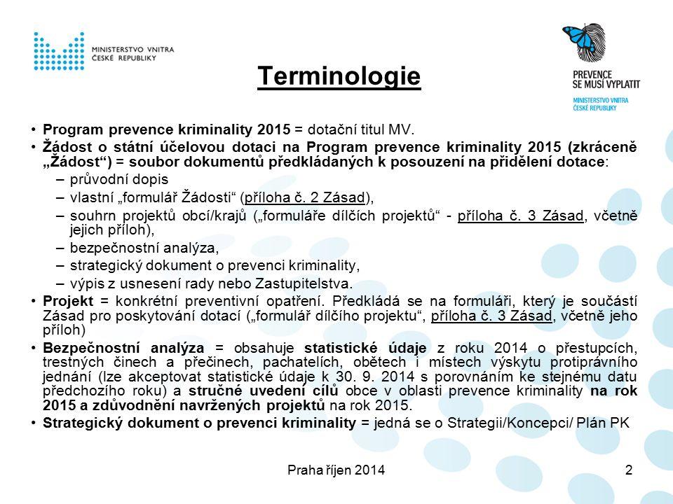 Praha říjen 201413 Formulář dílčího projektu – Povinné přílohy dílčí projekty PK se předkládají včetně příloh k dílčím projektům viz část F Metodických doporučení výzvy: u projektů z oblasti situační prevence a SVM souhlasné stanovisko Policie ČR, u projektů týkajících se kamerových systémů musí žadatel přiložit vyjádření k jednotlivým odstavcům Rozšiřujících podmínek - příloha č.