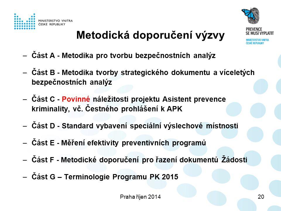 Praha říjen 201420 Metodická doporučení výzvy –Část A - Metodika pro tvorbu bezpečnostních analýz –Část B - Metodika tvorby strategického dokumentu a víceletých bezpečnostních analýz –Část C - Povinné náležitosti projektu Asistent prevence kriminality, vč.