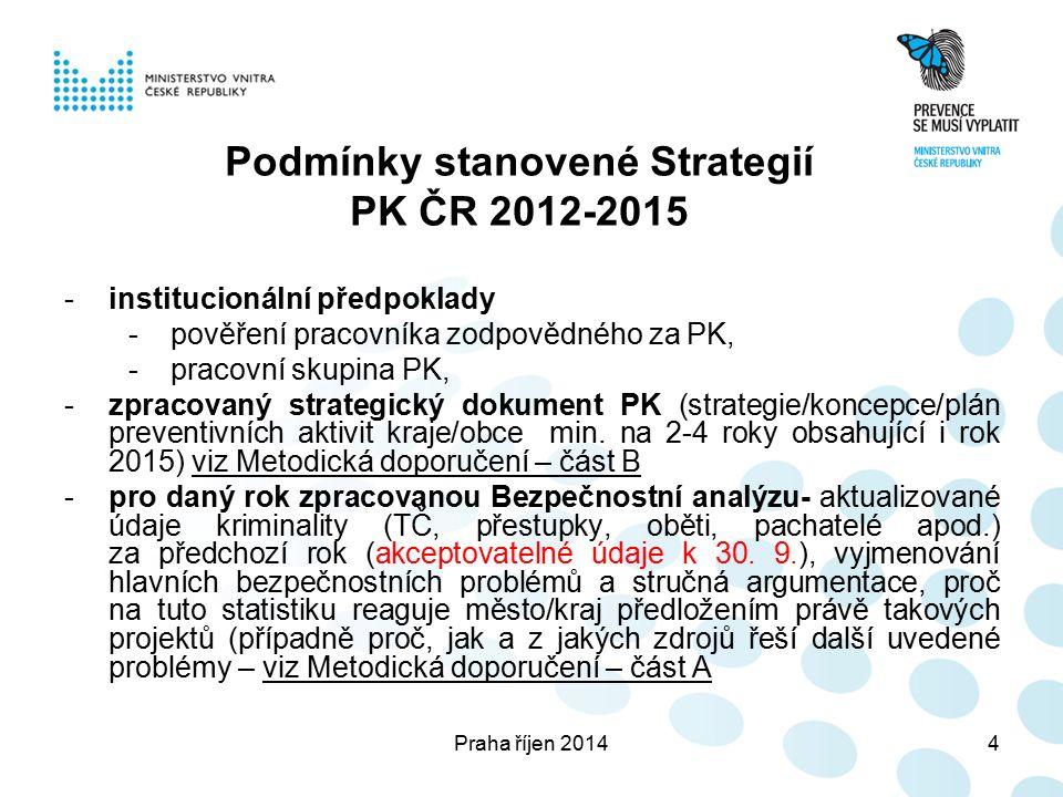 Praha říjen 20144 Podmínky stanovené Strategií PK ČR 2012-2015 -institucionální předpoklady -pověření pracovníka zodpovědného za PK, -pracovní skupina PK, -zpracovaný strategický dokument PK (strategie/koncepce/plán preventivních aktivit kraje/obce min.