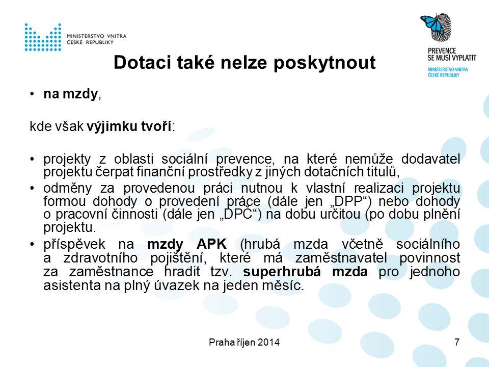 Praha říjen 20148 Limity a kritéria Vybudování MKDS – I.