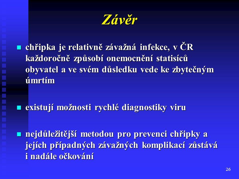 26 Závěr chřipka je relativně závažná infekce, v ČR každoročně způsobí onemocnění statisíců obyvatel a ve svém důsledku vede ke zbytečným úmrtím chřip