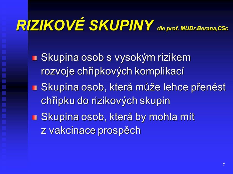 8 RIZIKOVÉ SKUPINY dle prof.