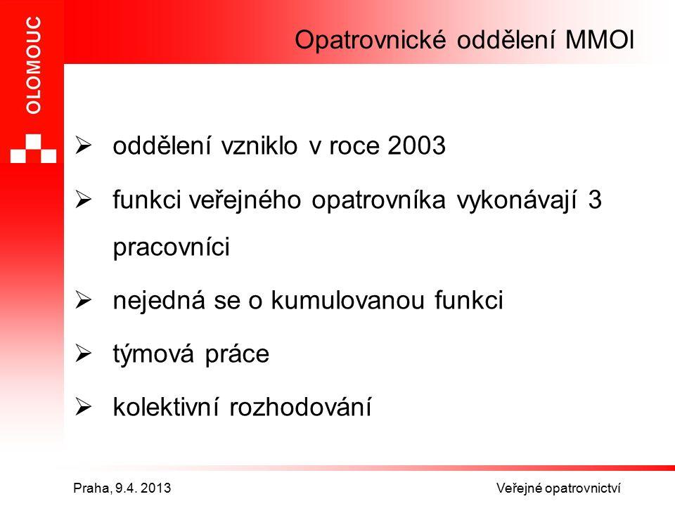 Praha, 9.4. 2013 Veřejné opatrovnictví Opatrovnické oddělení MMOl  oddělení vzniklo v roce 2003  funkci veřejného opatrovníka vykonávají 3 pracovníc