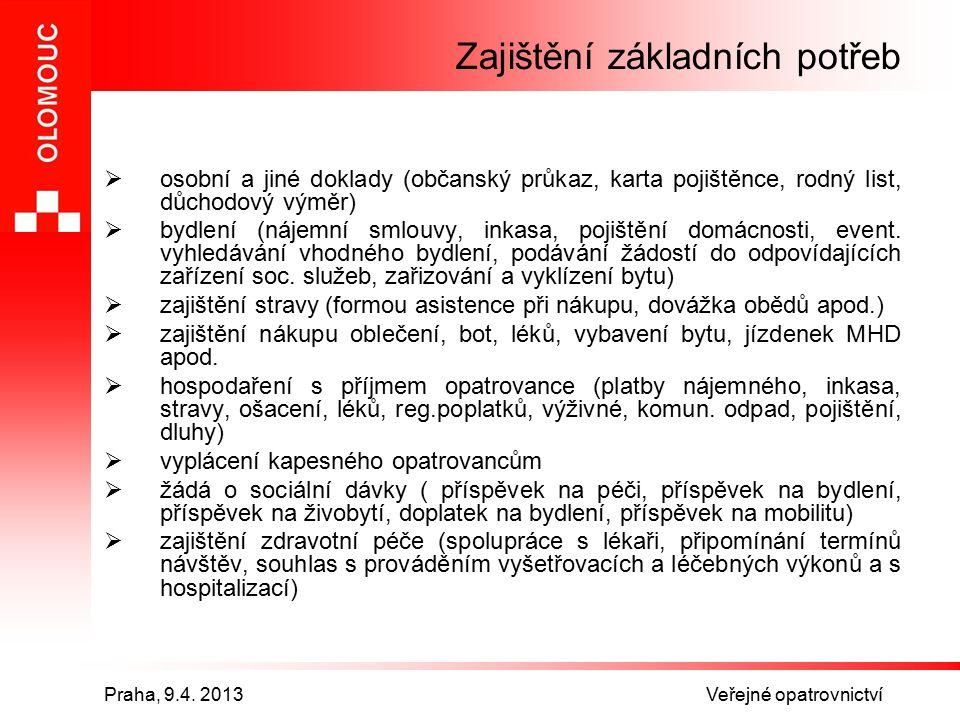 Praha, 9.4.2013 Veřejné opatrovnictví Co tíží VO.