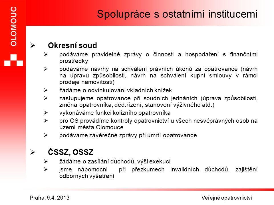 Praha, 9.4. 2013 Veřejné opatrovnictví Spolupráce s ostatními institucemi  Okresní soud  podáváme pravidelné zprávy o činnosti a hospodaření s finan