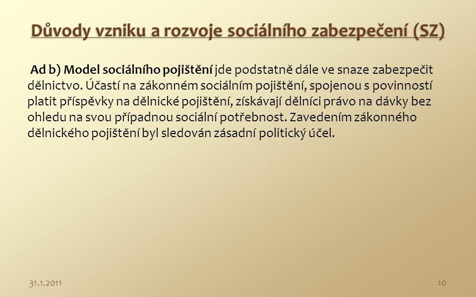Klasické modely sociálního zabezpečení V období do 30.