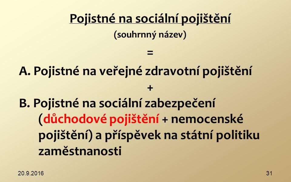 Prvky: 1) veřejné zdravotní pojištění – 7 zdravotních pojišťoven http://www.mzcr.cz/dokumenty/zdravotni- pojistovny_945_839_1.html http://www.mzcr.cz/dokumenty/zdravotni- pojistovny_945_839_1.html 2) sociální zabezpečení – do státního rozpočtu nemocenské – povinné, dobrovolné důchodové pojištění - povinné, dobrovolné (nemá důchod) státní politika zaměstnanosti (nezíská podporu v nezaměstnanosti)