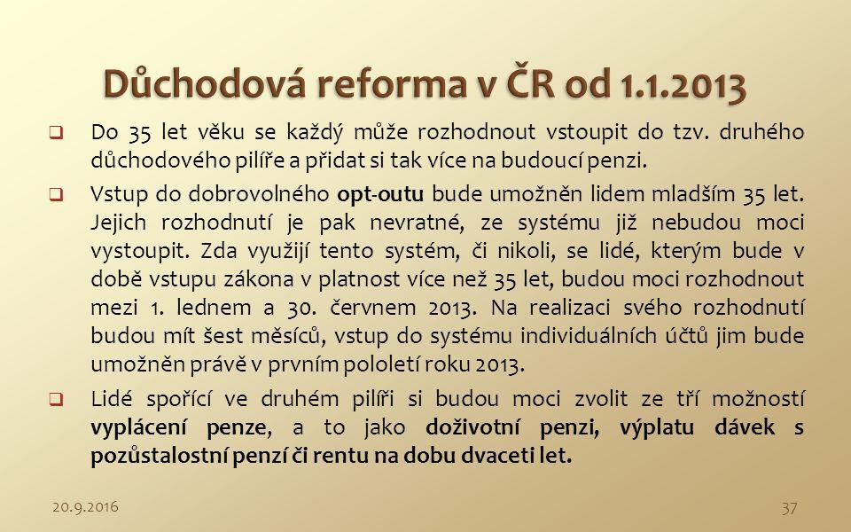 1. Státem organizovaný důchodový doplňkový systém (v ČR od 1.1.2013).