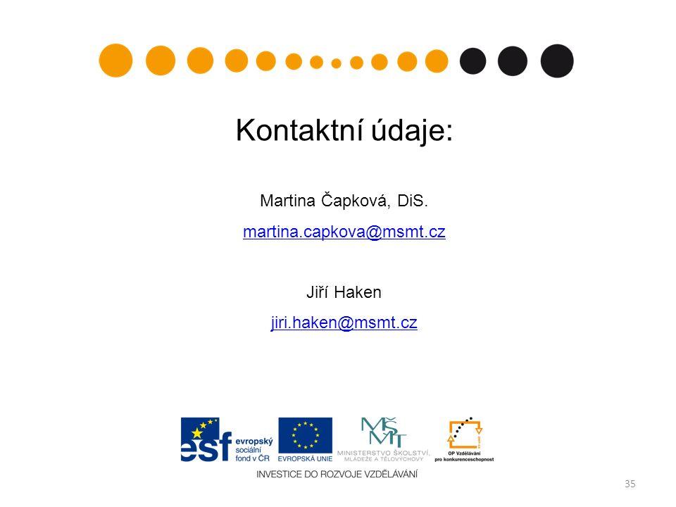 35 Kontaktní údaje: Martina Čapková, DiS. martina.capkova@msmt.cz Jiří Haken jiri.haken@msmt.cz