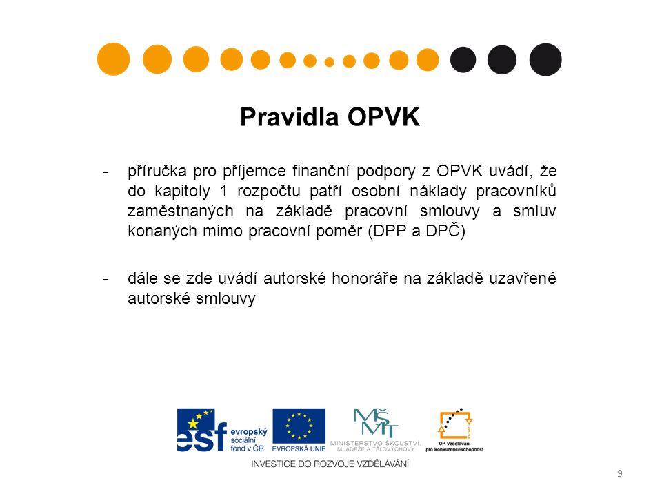 Pravidla OPVK -příručka pro příjemce finanční podpory z OPVK uvádí, že do kapitoly 1 rozpočtu patří osobní náklady pracovníků zaměstnaných na základě pracovní smlouvy a smluv konaných mimo pracovní poměr (DPP a DPČ) -dále se zde uvádí autorské honoráře na základě uzavřené autorské smlouvy 9