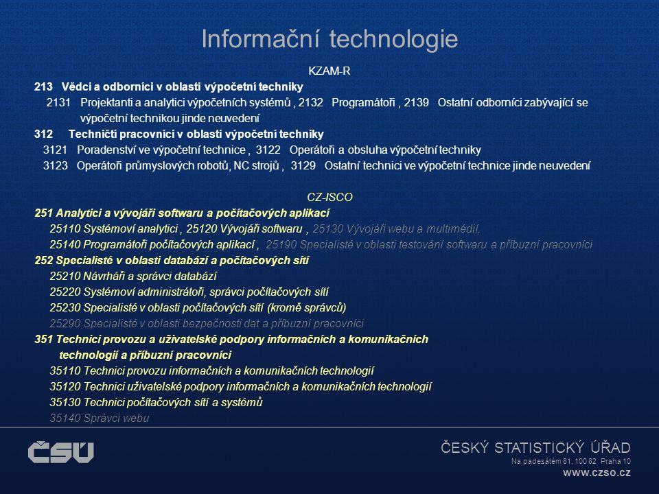 ČESKÝ STATISTICKÝ ÚŘAD Na padesátém 81, 100 82 Praha 10 www.czso.cz Informační technologie KZAM-R 213 Vědci a odborníci v oblasti výpočetní techniky 2131 Projektanti a analytici výpočetních systémů, 2132 Programátoři, 2139 Ostatní odborníci zabývající se výpočetní technikou jinde neuvedení 312 Techničtí pracovníci v oblasti výpočetní techniky 3121 Poradenství ve výpočetní technice, 3122 Operátoři a obsluha výpočetní techniky 3123 Operátoři průmyslových robotů, NC strojů, 3129 Ostatní technici ve výpočetní technice jinde neuvedení CZ-ISCO 251 Analytici a vývojáři softwaru a počítačových aplikací 25110 Systémoví analytici, 25120 Vývojáři softwaru, 25130 Vývojáři webu a multimédií, 25140 Programátoři počítačových aplikací, 25190 Specialisté v oblasti testování softwaru a příbuzní pracovníci 252 Specialisté v oblasti databází a počítačových sítí 25210 Návrháři a správci databází 25220 Systémoví administrátoři, správci počítačových sítí 25230 Specialisté v oblasti počítačových sítí (kromě správců) 25290 Specialisté v oblasti bezpečnosti dat a příbuzní pracovníci 351 Technici provozu a uživatelské podpory informačních a komunikačních technologií a příbuzní pracovníci 35110 Technici provozu informačních a komunikačních technologií 35120 Technici uživatelské podpory informačních a komunikačních technologií 35130 Technici počítačových sítí a systémů 35140 Správci webu