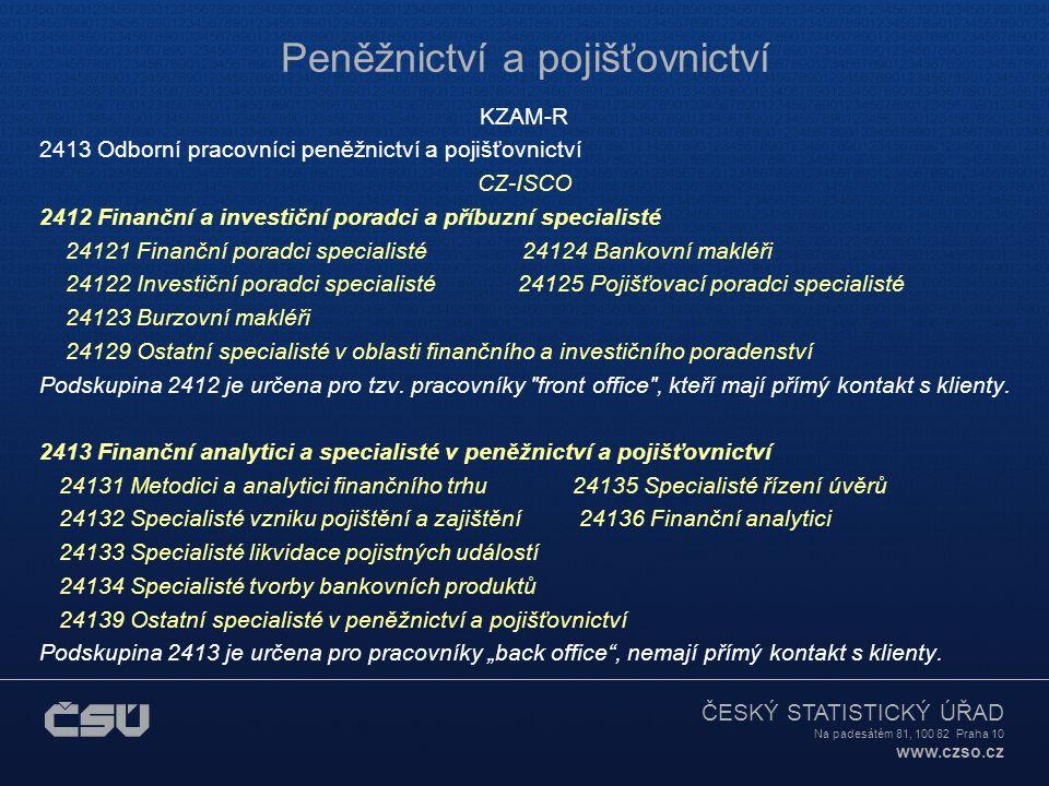 ČESKÝ STATISTICKÝ ÚŘAD Na padesátém 81, 100 82 Praha 10 www.czso.cz Peněžnictví a pojišťovnictví KZAM-R 2413 Odborní pracovníci peněžnictví a pojišťov