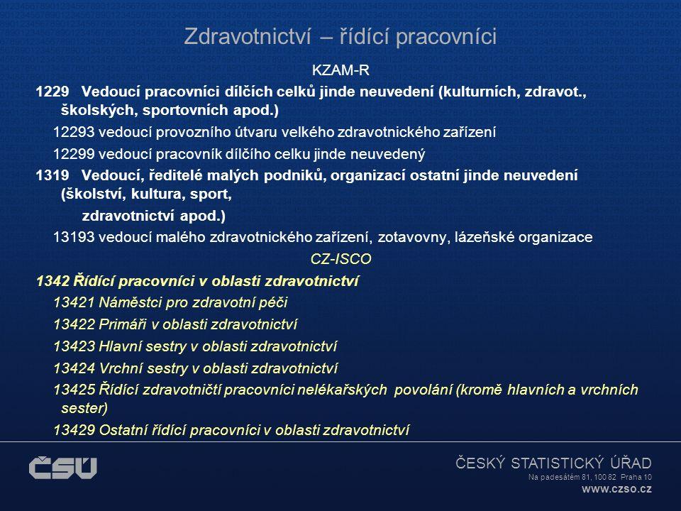 ČESKÝ STATISTICKÝ ÚŘAD Na padesátém 81, 100 82 Praha 10 www.czso.cz Zdravotnictví – řídící pracovníci KZAM-R 1229 Vedoucí pracovníci dílčích celků jin