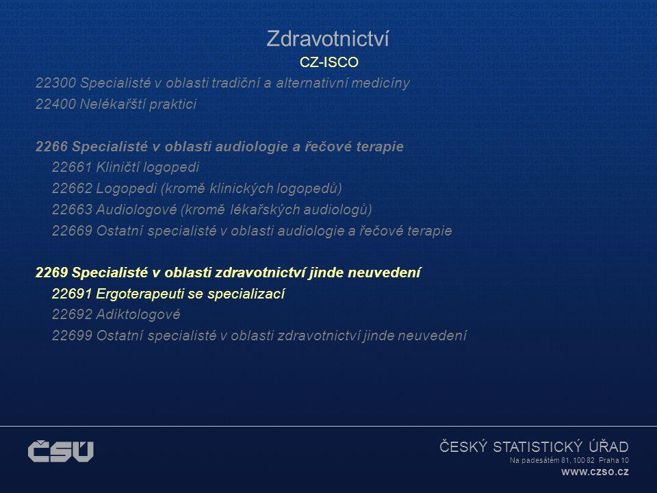 ČESKÝ STATISTICKÝ ÚŘAD Na padesátém 81, 100 82 Praha 10 www.czso.cz Zdravotnictví CZ-ISCO 22300 Specialisté v oblasti tradiční a alternativní medicíny
