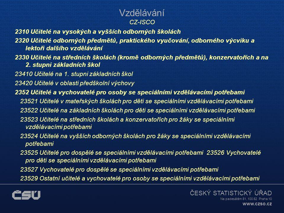 ČESKÝ STATISTICKÝ ÚŘAD Na padesátém 81, 100 82 Praha 10 www.czso.cz Vzdělávání CZ-ISCO 2310 Učitelé na vysokých a vyšších odborných školách 2320 Učite