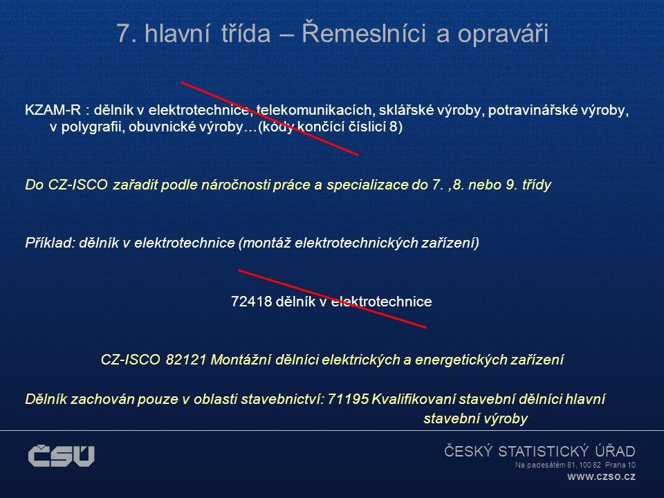ČESKÝ STATISTICKÝ ÚŘAD Na padesátém 81, 100 82 Praha 10 www.czso.cz 7. hlavní třída – Řemeslníci a opraváři KZAM-R : dělník v elektrotechnice, telekom