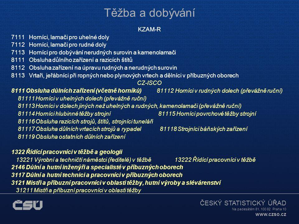 ČESKÝ STATISTICKÝ ÚŘAD Na padesátém 81, 100 82 Praha 10 www.czso.cz Těžba a dobývání KZAM-R 7111 Horníci, lamači pro uhelné doly 7112 Horníci, lamači